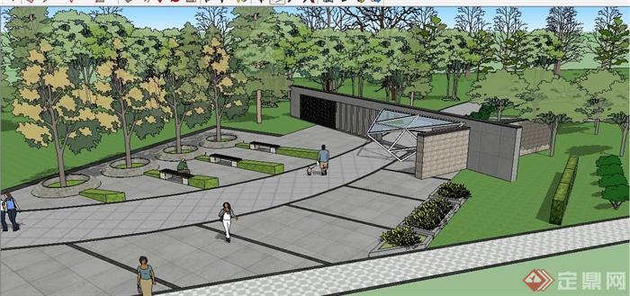 现代风格公园入口景观设计su模型
