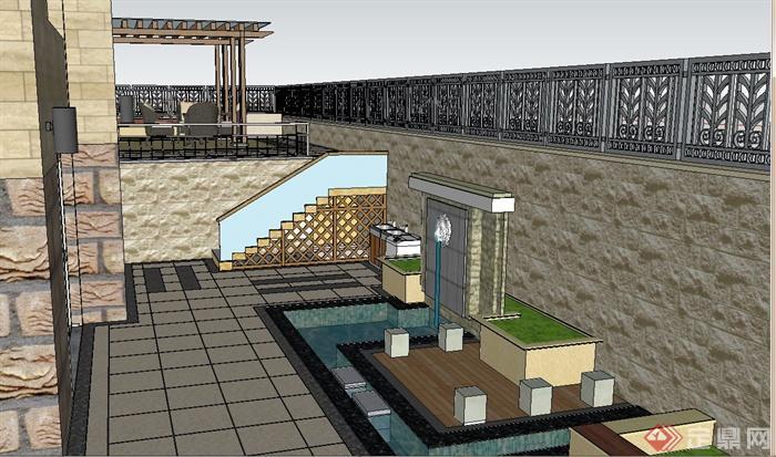 某别墅住宅区庭院景观设计SU模型,该模型内容有景墙水体、廊架、桌椅、面包机、餐桌椅、栏杆、秋千、围墙等,模型制作细致,有材质贴图,具有一定的参考价值。