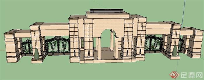 小区入口大门设计su模型(3)