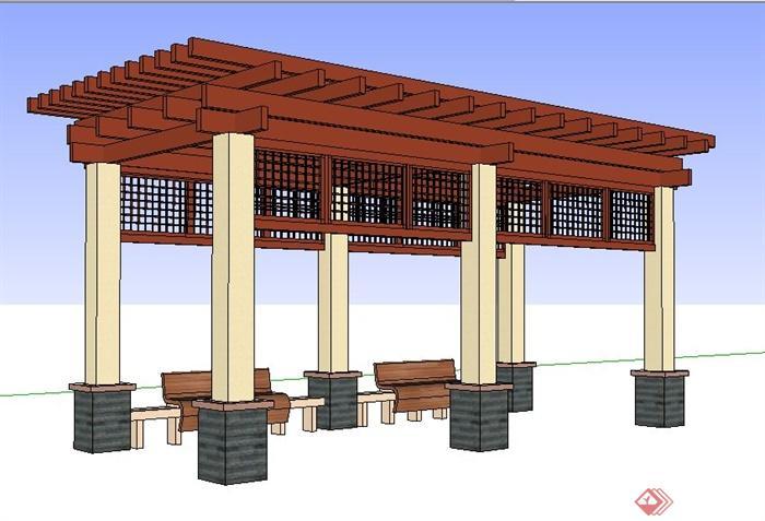 现代风格木制廊架设计su模型(1)
