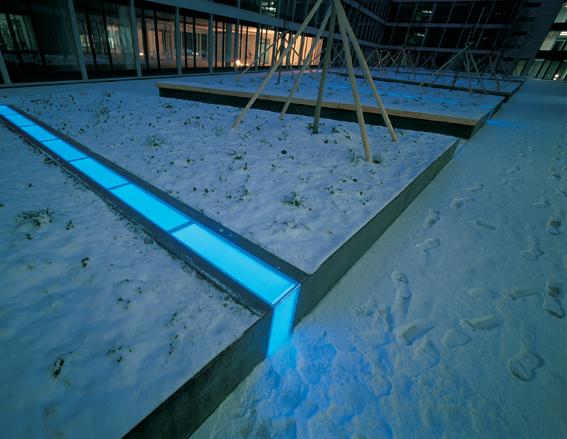 办公环境设计图-花池地灯雪景-设计师图库