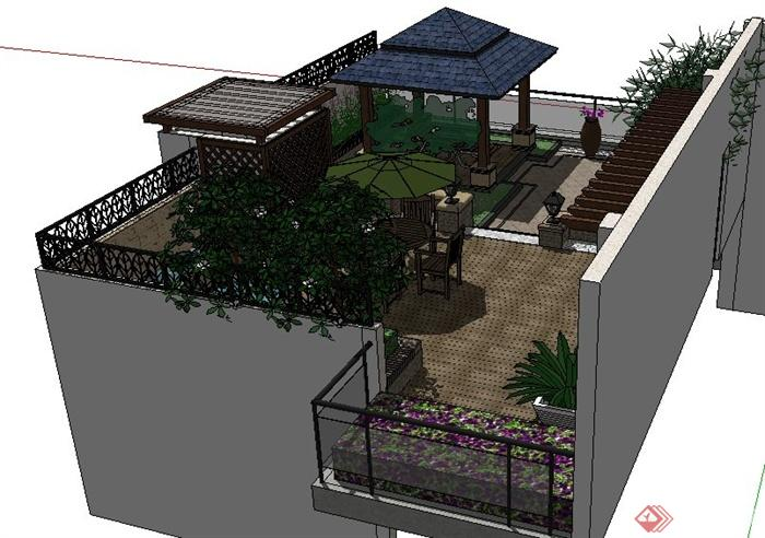 现代中式屋顶花园景观设计su模型