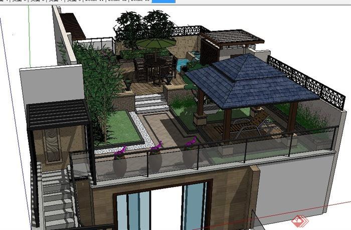 现代中式屋顶花园景观设计su模型(2)