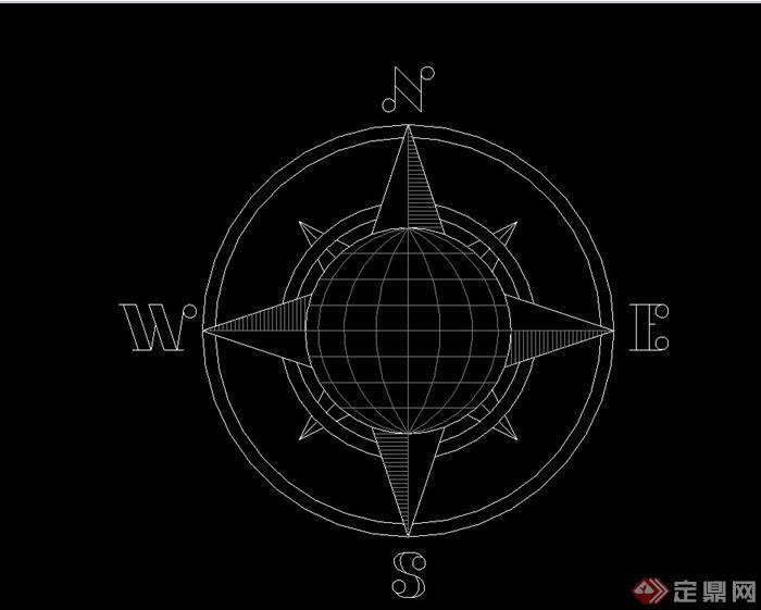 绘画素材指北针设计CAD图