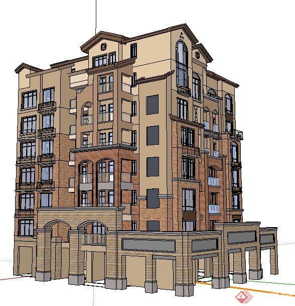 地中海风格多层住宅建筑设计su模型图片