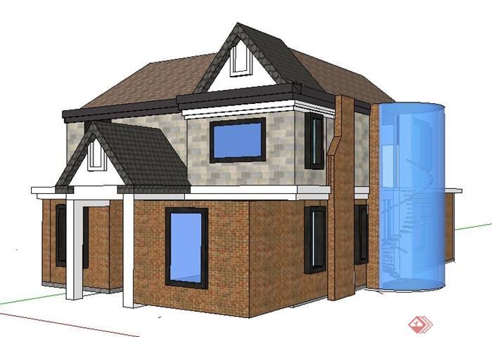 现代风格二层小别墅居住建筑设计su模型(4)