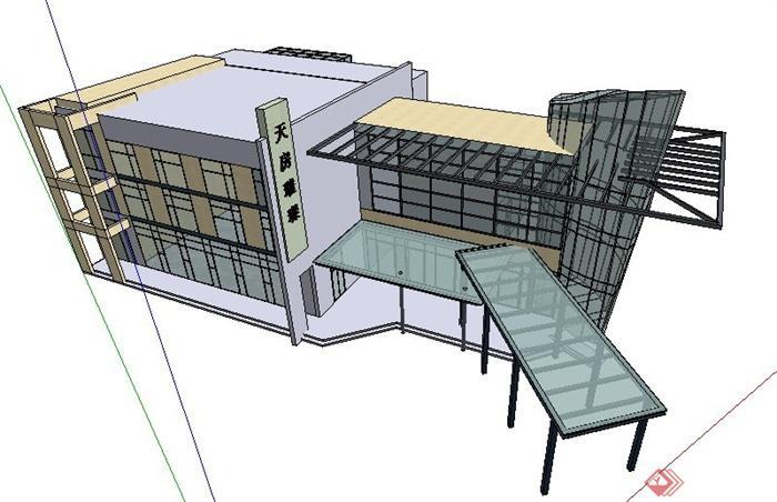 現代風格三層綜合辦公樓建筑設計su模型(3)