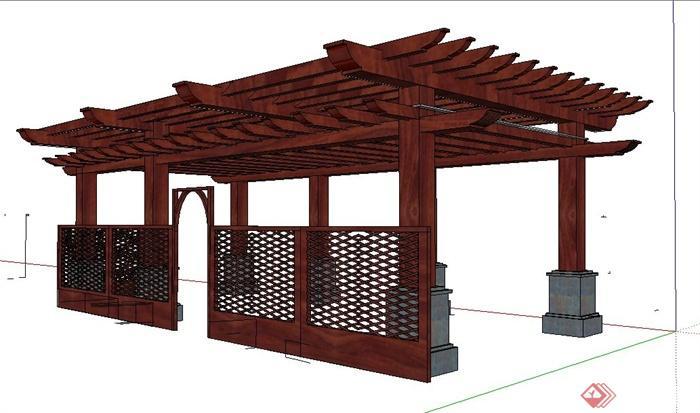 现代风格红木廊架su模型