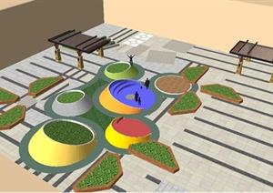 现代风格办公楼中庭景观设计SU(草图大师)模型-现代园林景观设计图片