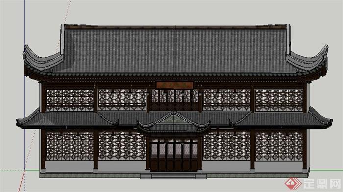 古典中式二层古建筑设计su模型