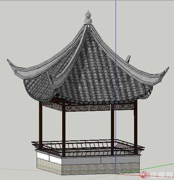 中式风格四角凉亭设计su模型图片