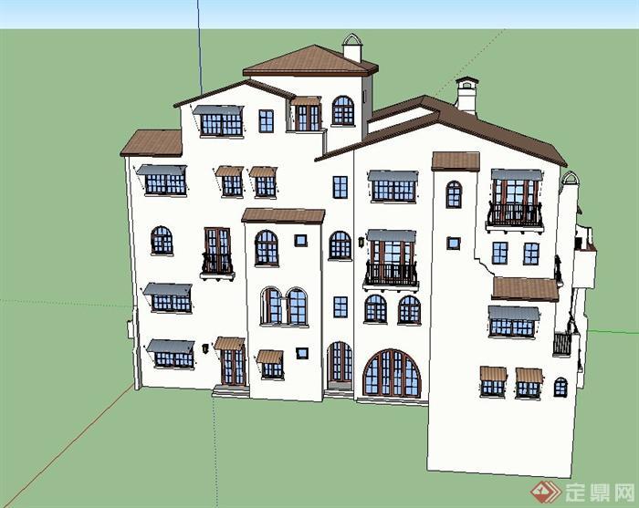 某多层组合式洋房别墅建筑设计su模型