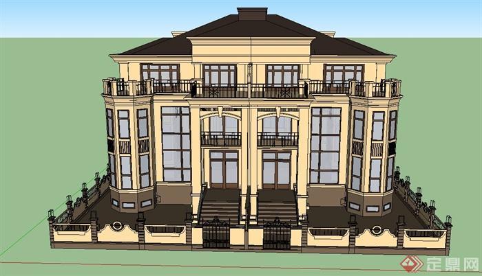 某两层半欧式别墅建筑设计su模型