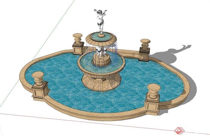欧式雕塑跌水池设计su模型