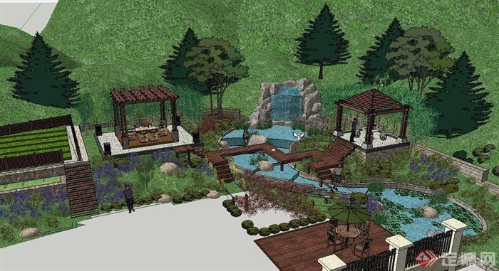 某山地别墅景观设计su模型