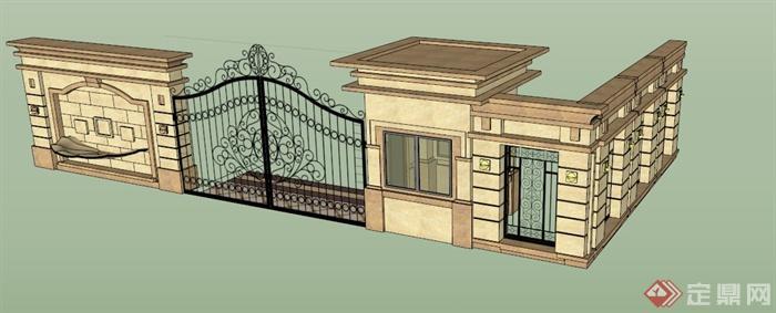 新古典庭院大门围墙设计su模型(1)