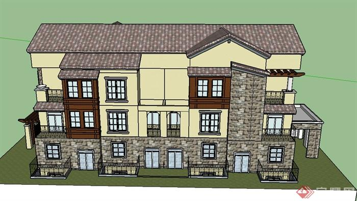 某英式三层小别墅建筑设计SU模型图片