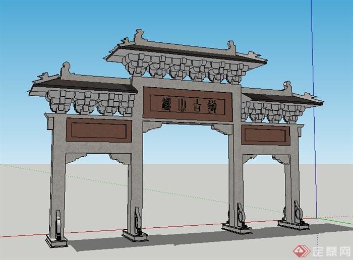风格古街牌坊su模型[chinese