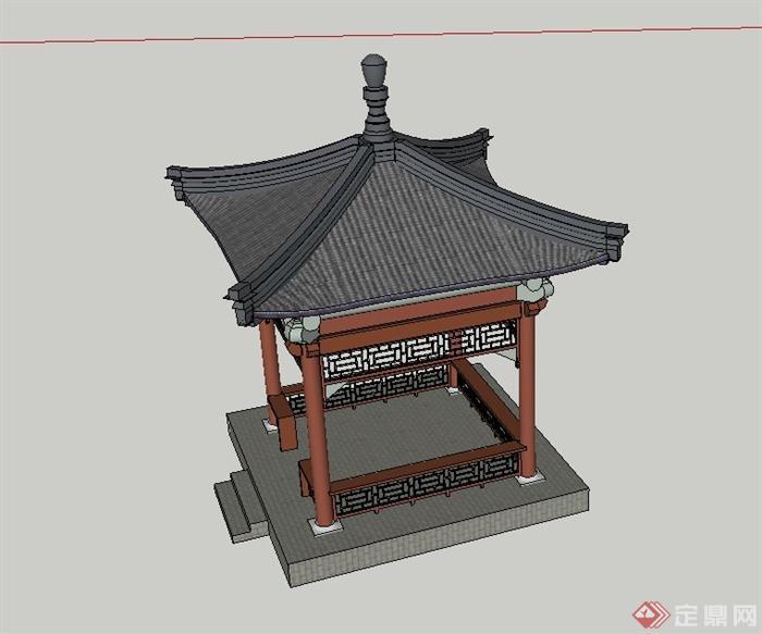 某古典中式四角亭子设计su模型图片