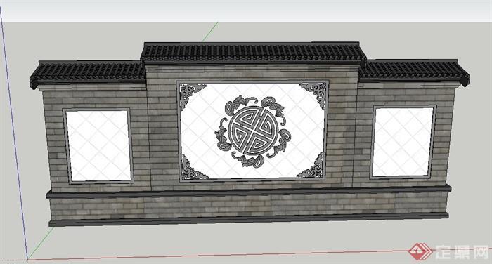 古典中式景墙设计su模型(1)