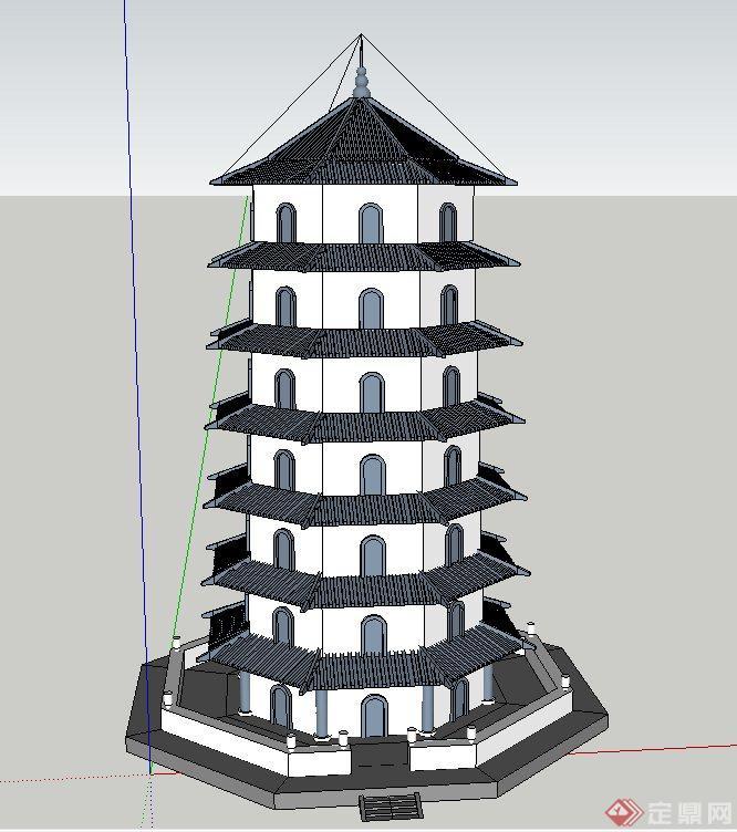 某古典中式七层塔楼建筑设计su模型