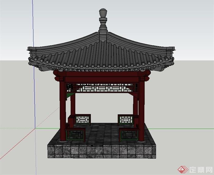古典中式四角带斗拱亭子设计su模型