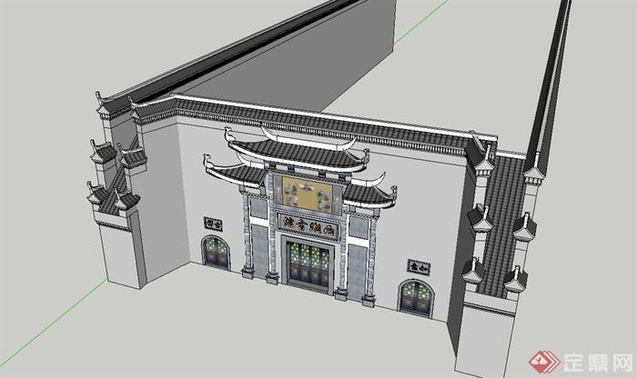 某古典中式博物馆大门设计su模型(2)