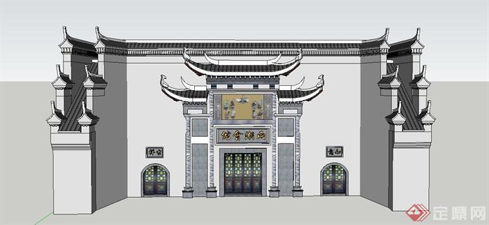 某古典中式博物馆大门设计su模型(1)