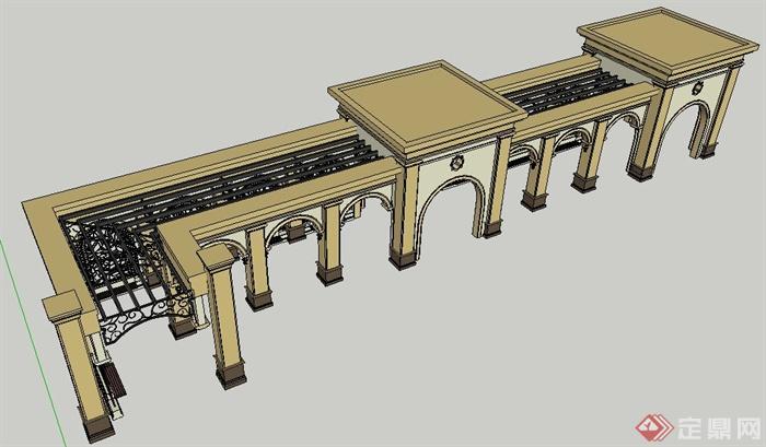 欧式风格景观长廊设计su模型,模型制作精细,附带简洁材质贴图,细节处理到位,具有一定参考价值。