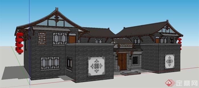 现代中式风格民宅住宅建筑设计su模型(1)图片