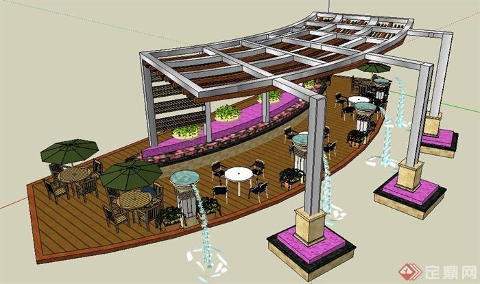 现代风格木平台及廊架组合su模型