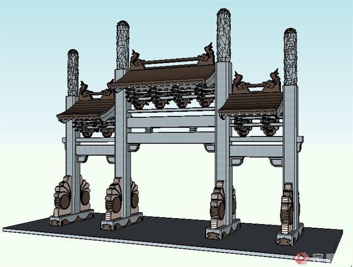 中式风格入口牌坊设计su模型