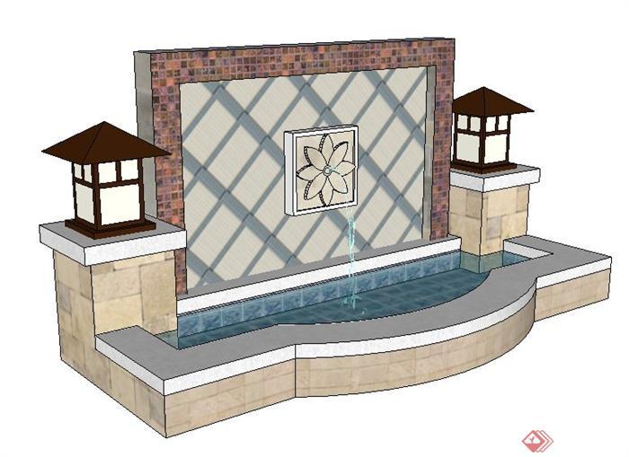 现代简约中式喷水景墙su模型(1)