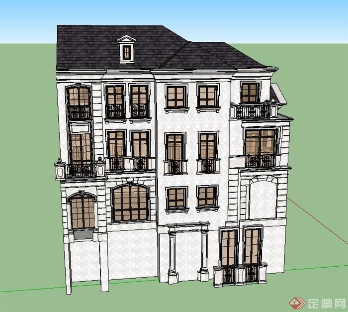 某欧式坡别墅四层模型建筑设计SU屋面室内设计的v别墅图片