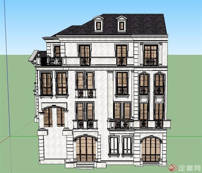 某欧式坡模型四层别墅建筑设计SU空间ug8.5绘制屋面怎么曲线图片