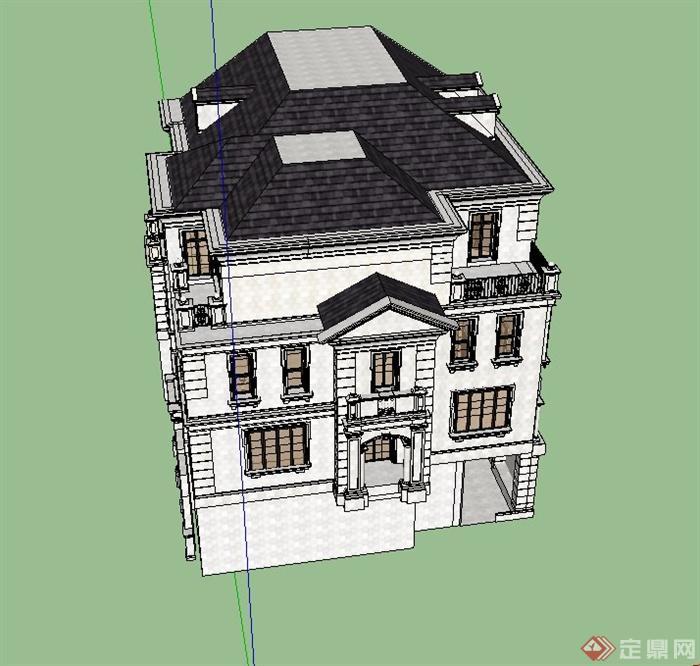 某欧式坡屋面四层别墅建筑设计su模型