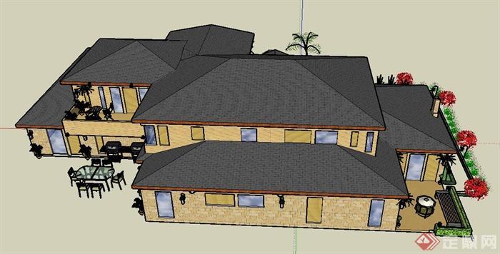 某单层欧式风格乡村住宅建筑设计su模型(3)