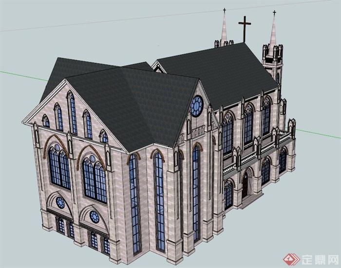 古欧式大教堂建筑设计su模型