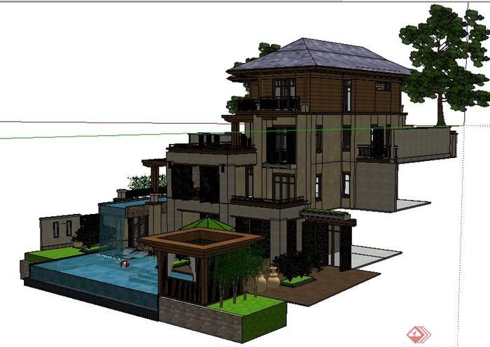 现代中式风格山地别墅住宅建筑设计su模型