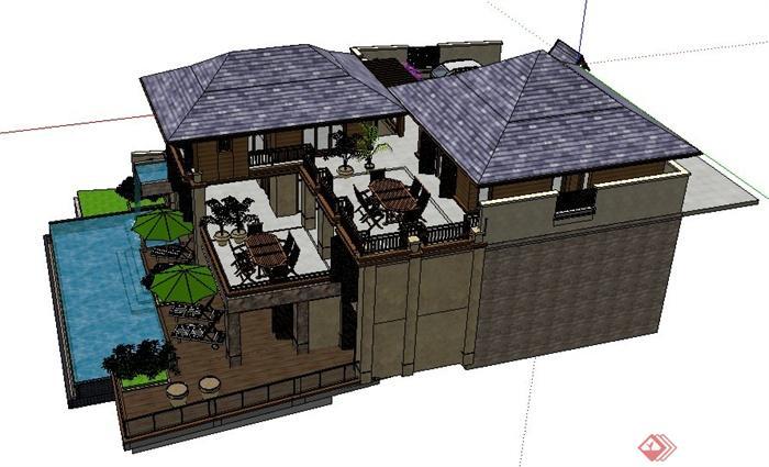 现代中式山地别墅住宅建筑设计su模型