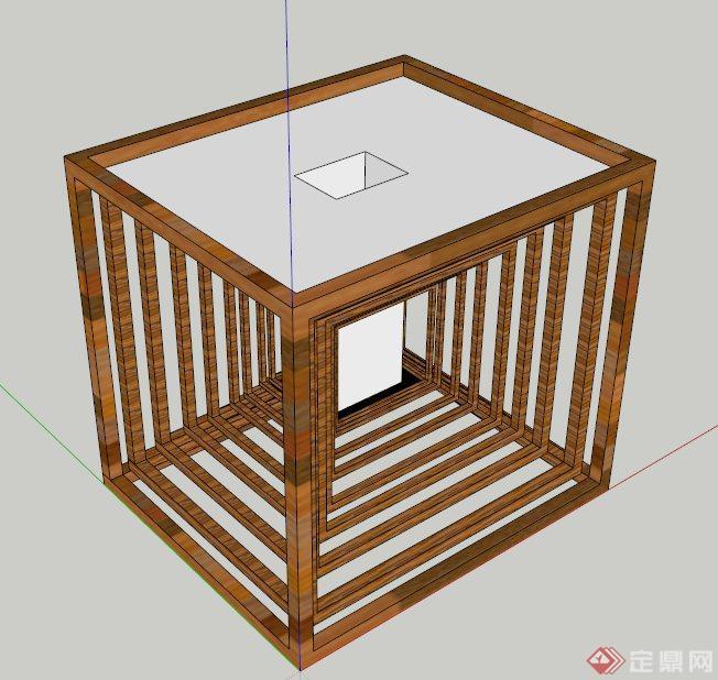 特色木制垃圾桶设计su模型