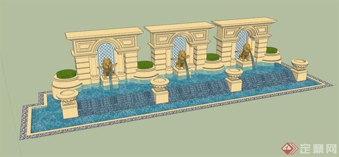 欧式吐水景墙设计su模型