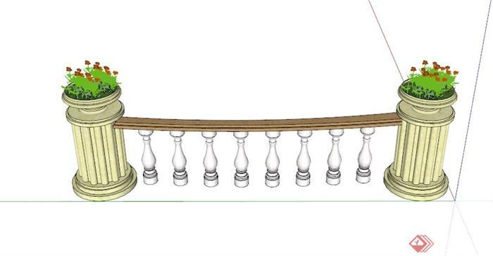 欧式花钵柱围栏设计su模型