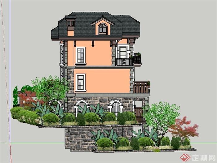 欧式风格豪华四层别墅建筑设计su模型