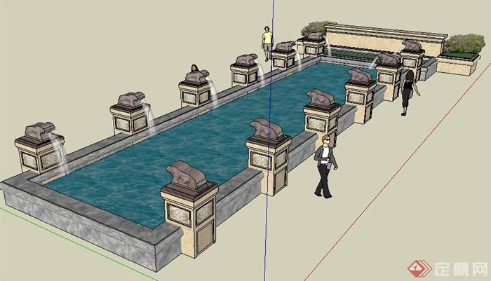 现代风格组合喷泉叠水景观su模型