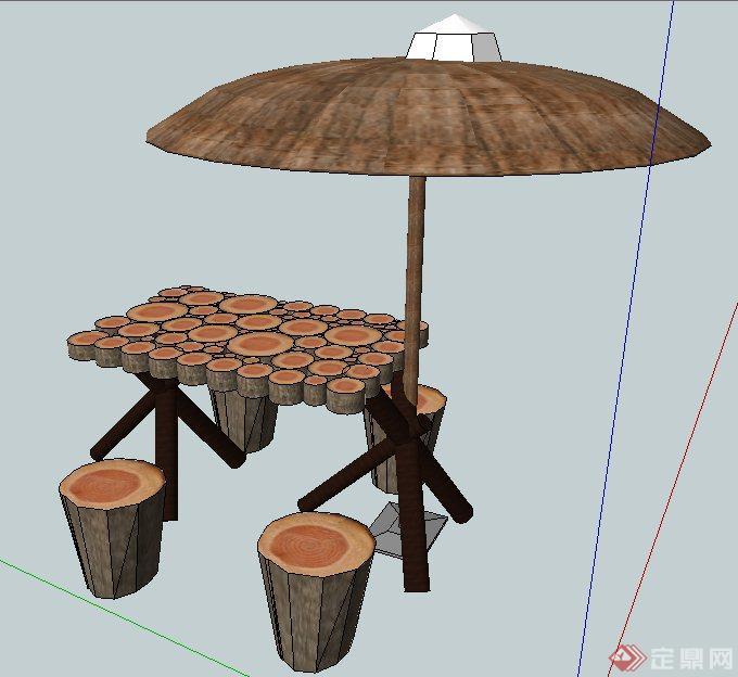 木制桌凳及遮阳伞su模型