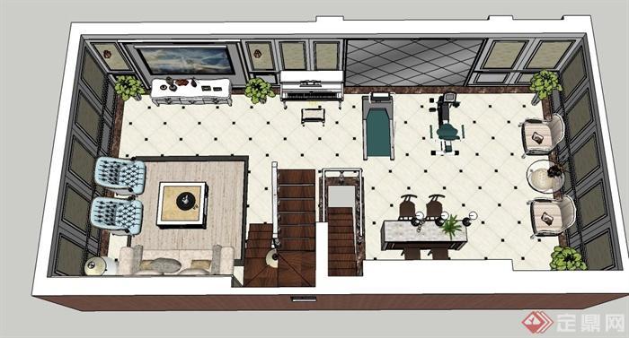某三层欧式风格住宅建筑与室内设计su模型[原创]