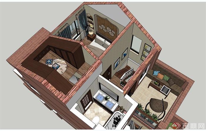 某三层欧式风格住宅建筑与室内设计su模型[原创]图片