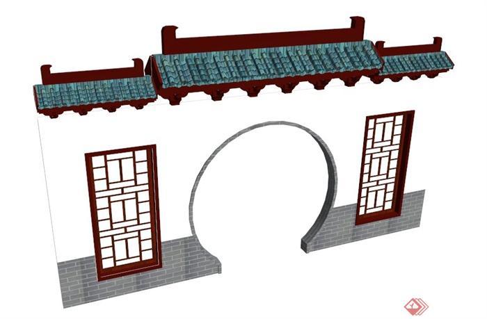 中式拱门墙设计su模型[chinese