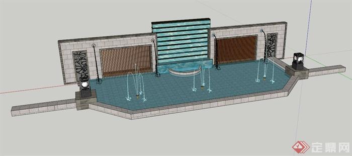 pool king wall design su model] 新中式水池景墙设计su模型,喷泉图片